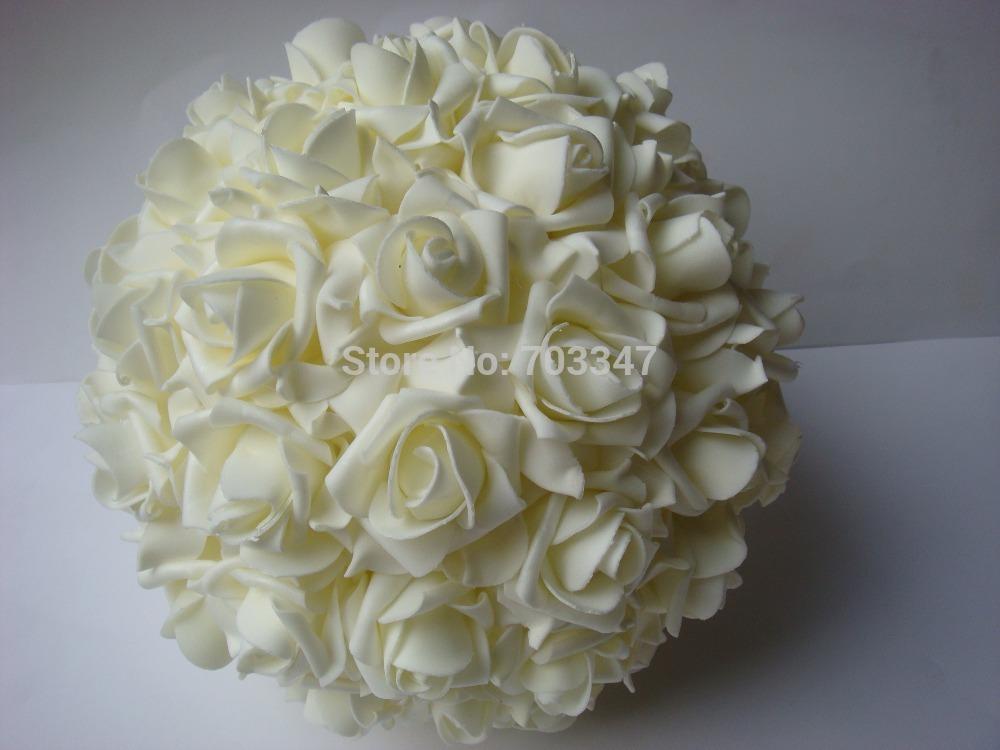 (Free EMS Shipping) 12pcs 8'' 20cm Party Wedding Decoration EVA Styrofoam Rose Flower Balls Kissing Balls in Many colors(China (Mainland))