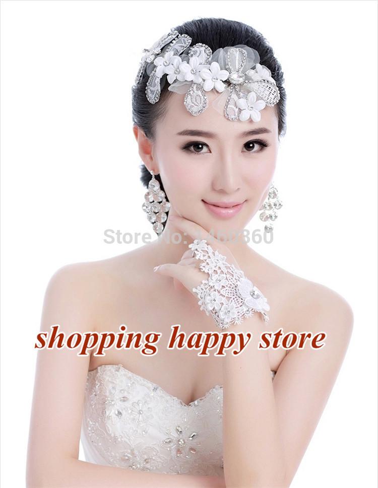 Free Shipping Bridal White Head Flower,Luxury Rhinestone Lace Yarn Wedding Accessories,Bride Korean Hair Jewelry 24.5*8cm Noble(China (Mainland))