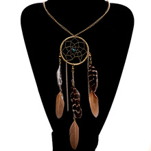 Lureme Hot Sale Bohemian Ethnic Style Bead Dreamcatcher Feather Pendants Alloy Necklace For Women Fashion Jewelry