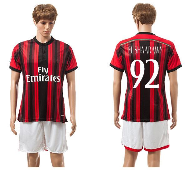 Free Shipping 2014 2015 AC Milan home red/black #92 EL SHAARAWY jerseys soccer Desinger sports uniforms Fashion football kits(China (Mainland))