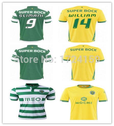 Hot 2015 NEW ARRIVE ! Sporting Lisbon home away jersey 15/16 green yellow soccer Jersey NANI SLIMANI WILLIAM shirts(China (Mainland))