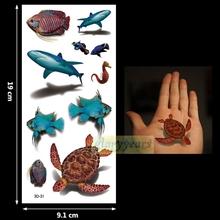 New 1PC Fashion Women Men Waterproof Temporary Tattoo Removable Simulation Vivid Body Art 3D-31 Turtle Shark Sea Horse Fish (China (Mainland))