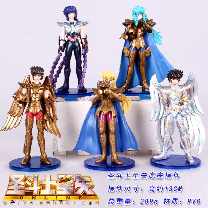 5 pcs/lot Hot Japanese Anime Action & Toy Figures Saint Seiya PVC Dolls Figure Collectible Model Toy(China (Mainland))