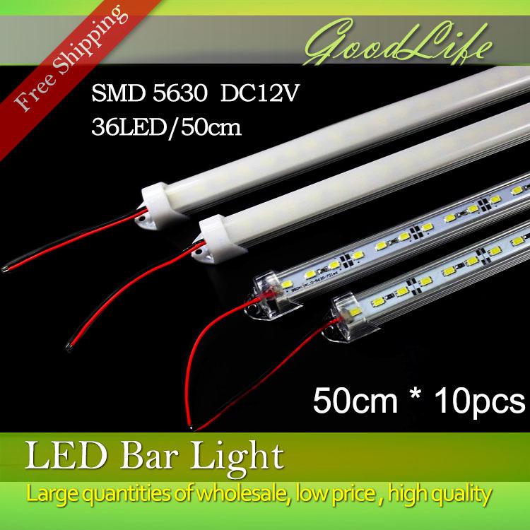 10pcs*50cm Factory Wholesale 50CM DC 12V 36 SMD 5630 LED Hard Rigid LED Strip Bar Light with U Aluminium shell +pc cover(China (Mainland))