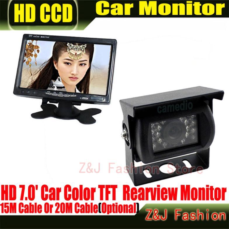 "Factory Selling 18 IR Reverse Camera +NEW 7"" LCD Monitor+Car Rear View Kit car camera BUS And Truck parking sensor LM(China (Mainland))"