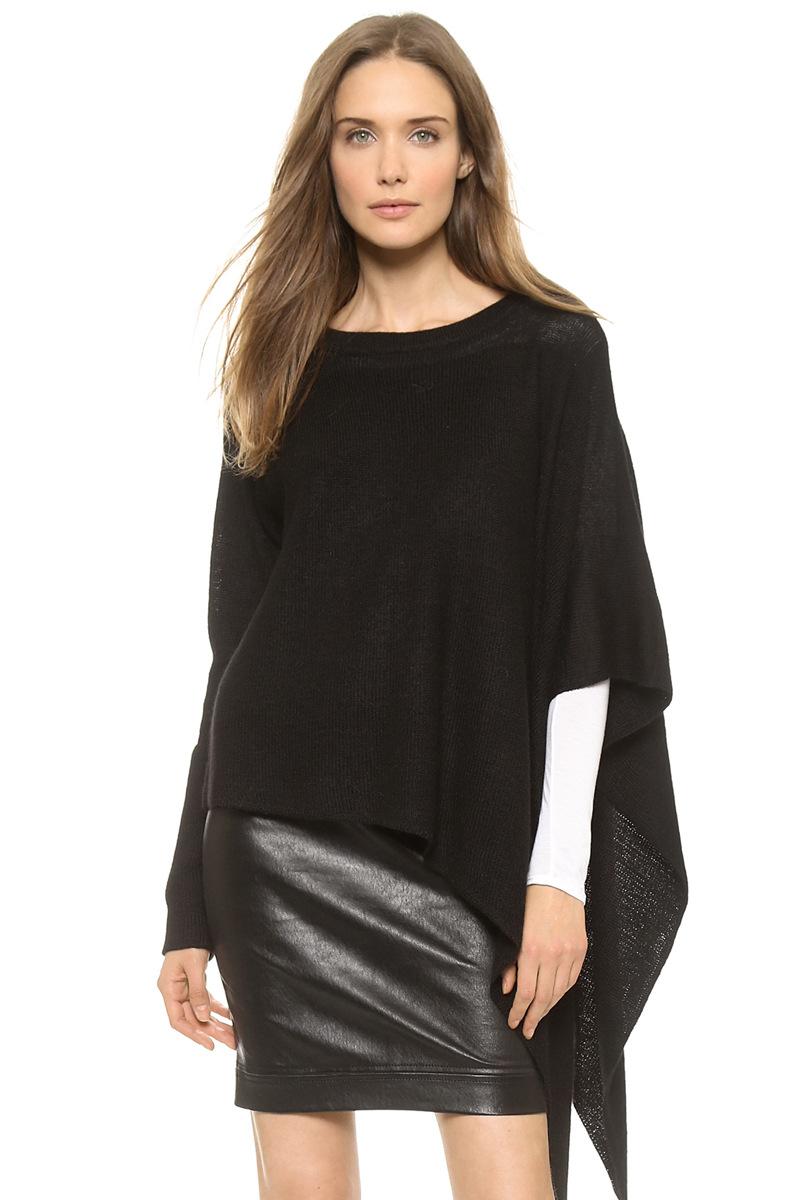 Europe and the United States soft asymmetrical hem cape coat loose rib boat neck sweater haoduoyi(China (Mainland))