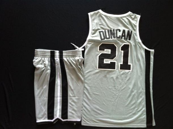 Wholesale San Antonio kit #21 tim duncan grey Men's Basketball Jersey set, embroidery logo(China (Mainland))