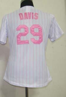 wholesale Lady New York 29 Ike Davis White (Pink strip) women baseball Jersey Embroidery logos size S-XXL(China (Mainland))