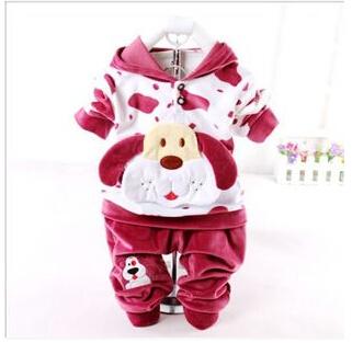 NEW Baby boys girls dog suits long sleeve coat jacket+pants kids spring clothing sets 2pcs/set china post(China (Mainland))