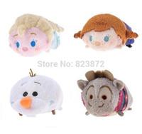 New Original Japan Tsum Tsum Plush Toys Kawaii Froze Elsa Anna Olaf Sven Set of 4 Dolls Cute Soft Toys Smartphone Cleaner