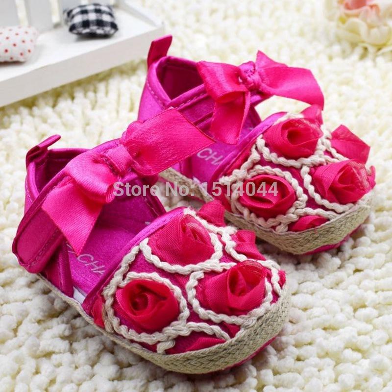 Hot Pink Rose Baby Sandals Girl Riband Summer Shoes Baby Girl First Walkers Soft Bottom Sapatinhos Bebe Girl Sapato Bebe Menina(China (Mainland))