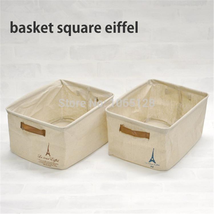 Zakka vintage Eiffel Tower hanging storage basket washable kitchen cabinet cotton hemp storage bag square(China (Mainland))