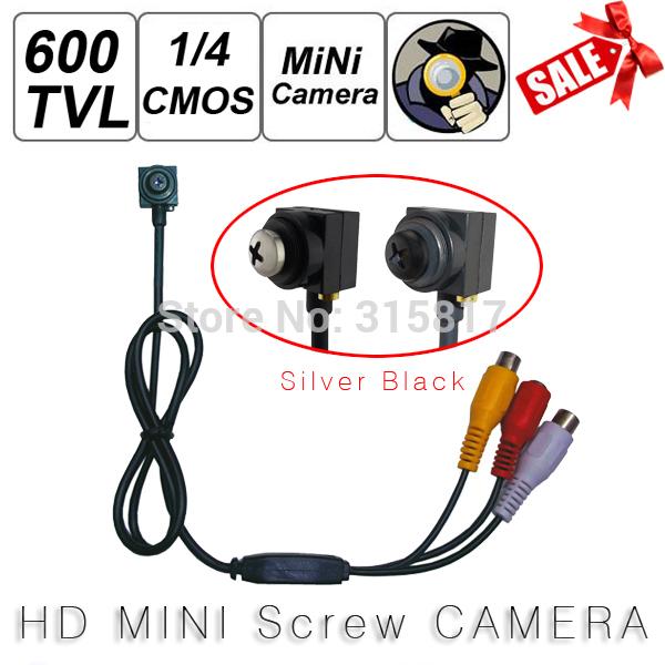 5MP 600TVL Smallest Mini Wired Screw Pinhole Camera Color Video AV Security Camera Home CCTV Surveillance NTSC / PAL(China (Mainland))