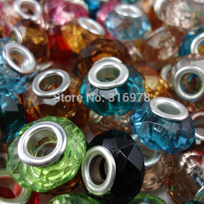 50 PCS Mixed Color 14MM Murano Acrylic Beads European Fits Pandora Charm Bracelets Bangle pendants 13