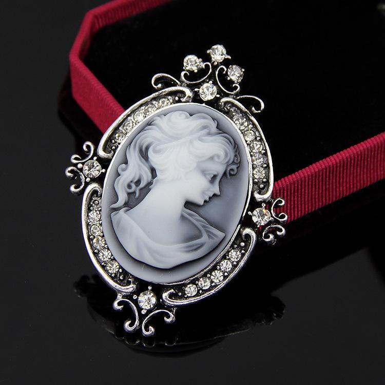 European and American Elegant Retro Crystal Alloy Cameo Wedding Brooch Pin Wholesale(China (Mainland))