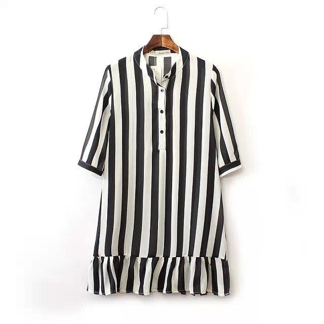 produto Vestidos Informal 2015 Summer Fashion Brand Women Casual Summer Desigual Sale stripe three quarter Sleeve Pleated Dress A0967