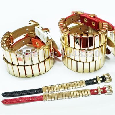 New Arrive Women Brand Gold metal square Bangle M korss Leather Bracelet men lady narrow leather Cuff bracelet Bangle lover gift(China (Mainland))
