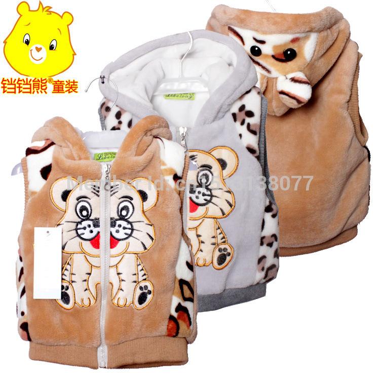 2015 spring autumn winter kids' boy girl children outwear waistcoat kids tiger fur vest baby clothing free shipping(China (Mainland))
