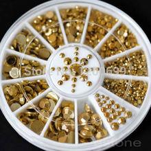 C18 hot venda por atacado nova tamanhos mistos Nail Art decoração Diy 3D acrílico Glitter ouro Beads grátis frete
