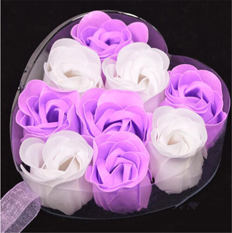 9pcs Purple Bath Body Flower Heart Favor Soap Rose Petal Wedding Decoration Gifts(China (Mainland))