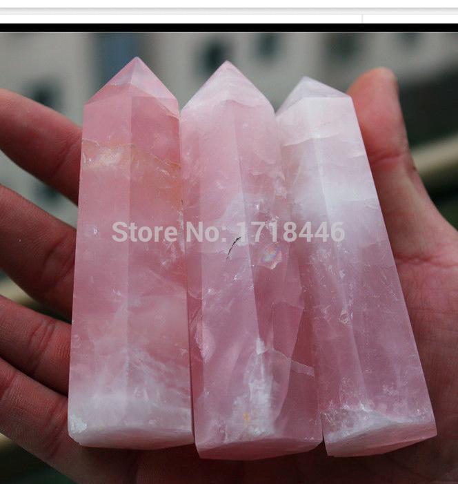 JJoo5@@@NN#3pcs 80-100MM 100% Natural Rock pink ROSE Quartz Crystal Point Healing(China (Mainland))