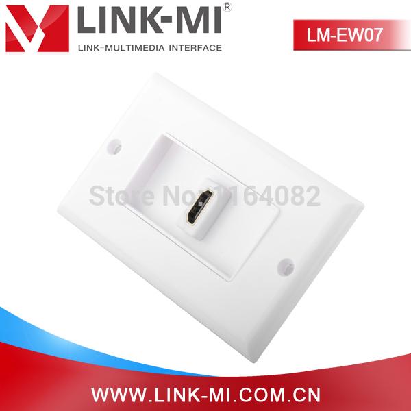 LINK-MI LM-EW07 4 Inch 180 Degree HDMI Female to HDMI Female Adapter Single Port HDMI Socket Wall Plate(China (Mainland))