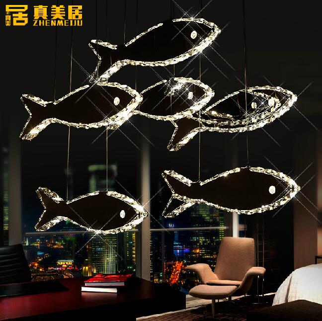 LED crystal chandelier bedroom lamp lighting dining restaurant bar triceps creative modern minimalist mid fish(China (Mainland))