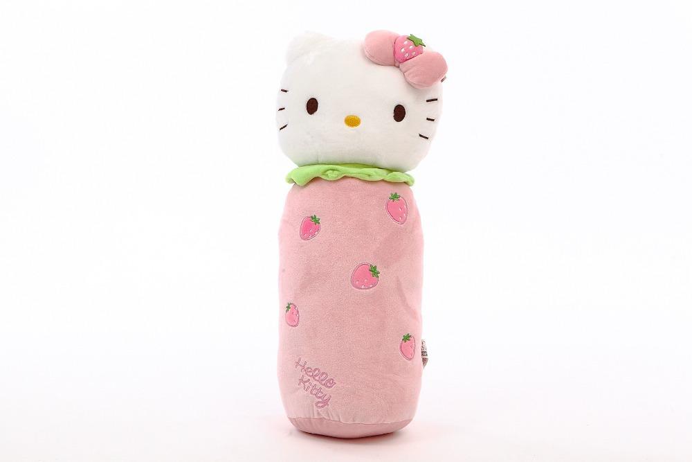 New Design Large Hello Kitty Long Round Pillow KT Cat Stuffed Plush Fruit Cylinder Cushion 56x24cm 1 piece(China (Mainland))