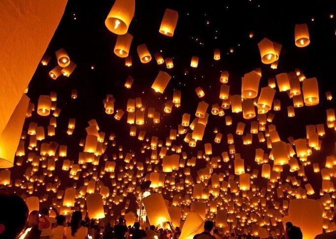 5 Pcs Multicolors Paper SKY LANTERNS Flying Paper Sky Lanterns Free Shipping Paper Chinese Lanterns(China (Mainland))