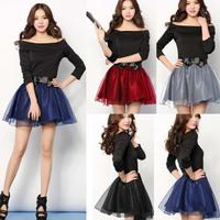 Free shipping 2015 Hepburn Colorful Cute Bow Knot Organza Chiffon Skirt Pleated  Mini Short Skirt  Ball Gown Skirt