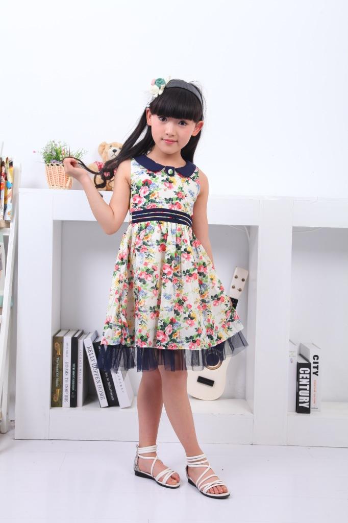 2014 summer models girls cotton dress retro princess dress cheap high quality(China (Mainland))