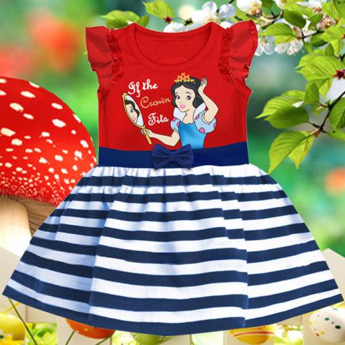 Baby Girls Kids Clothes Summer Short Sleeve Stripe Party Princess Dress 1-6Yrs(China (Mainland))