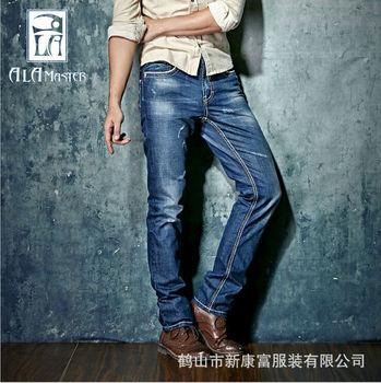 Новый 2015 осень жан мужские брюки дышащий синий тонкий Fit хлопок мужской бренд джинсы