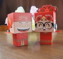 100 pcs/lot стиль свадьба поставки конфетная коробка в китайский стиль прекрасной невесты и жениха форма