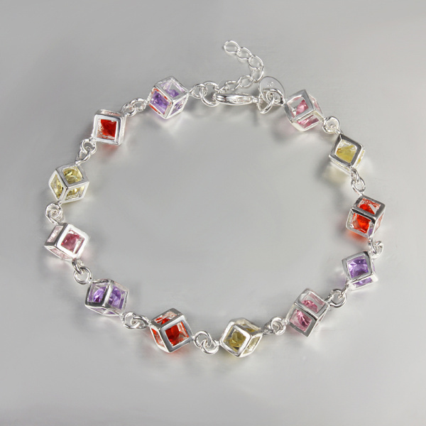 Cube Bracelet Jewelry Sterling 925 silver bracelets bangles Hand Chain with Colorful link chain accessories JH220(China (Mainland))