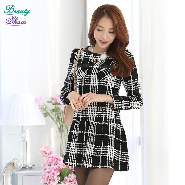 Autumn and Winter Dress 2015 Korean Vestido de festa Long Sleeve Plaid Women Dress Slim Mini Woolen Dresses OL Business Clothes(China (Mainland))