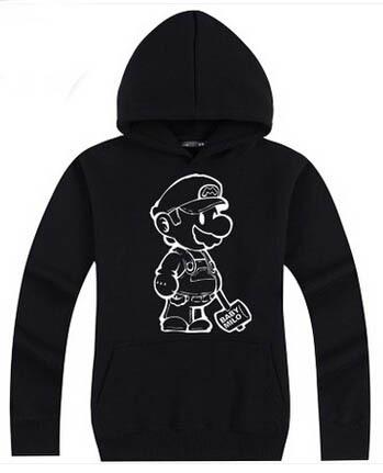 Cotton Hoodies Student Sport Sweatshirts Super Mario World jacket Creative color women hoodies Cool Gifts Good quality(China (Mainland))