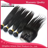 7A Peruvian Straight Virgin Hair With Closure 5pcs Lot,Silky Straight Human Hair Bundles With Lace Closure,4Bundles With Closure