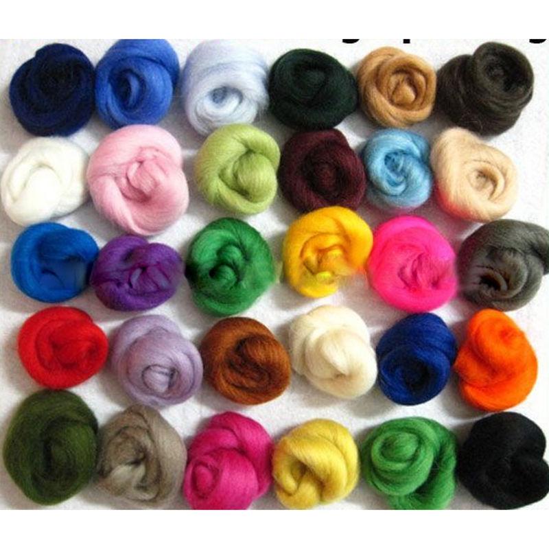 36 Colors 5g/color Merino Wool Fibre Roving For Needle Felting Hand Spinning DIY Fun Doll Needlework Raw Wool Baize poke(China (Mainland))