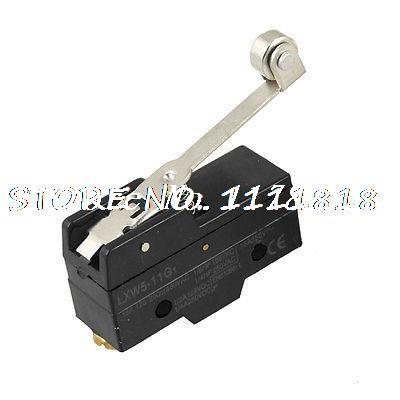 1NO+1NC+1Com Panel Mount Long Hinge Roller Lever AC DC Micro Switch Black(China (Mainland))