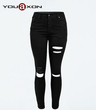 1878 YouAxon новая улица стиль женщин разорвал разрушенные натяжные тощие брюки брюки ...