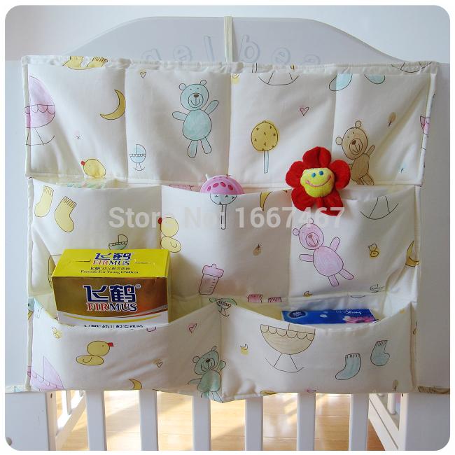 Free Shipping 100%cotton Baby Bed Hanging Storage Bag Newborn Crib Organizer Bags A variety of pattern(China (Mainland))