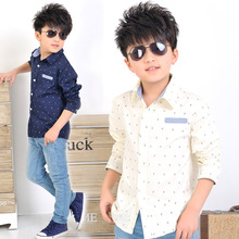 2015 NEW boys spring long sleeve shirts dot print children casual dress shirts beige & navy colors boy formal clothing(China (Mainland))
