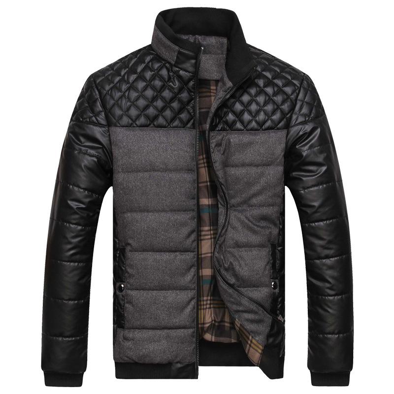 2015 New Arrival Mandarin Collar Zipper Regular Thick Spliced Men s Cotton Jackets Winter Warm Pu