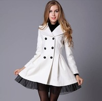 2014 winter gorgeous elegant slanting stripe yarn expansion skirt bottom double breasted woolen outerwear 9632