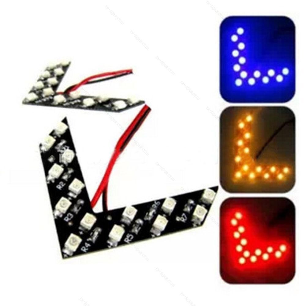 2pcs Amber Arrow Panel 14 SMD 1210 Blue LED Light For Car Side Rear View Mirror Indicator Turn Signal Light(China (Mainland))