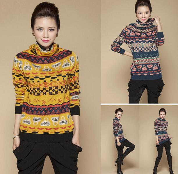 New 2015 cashmere sweater women Plus size turtleneck pullover sweater female vintage sweater heap turtleneck sweater