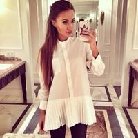 2015 new fashion women summer white women fashion chiffon o-neck ruffles blouses