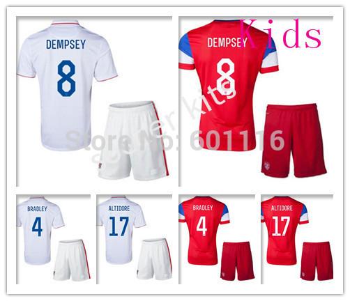 Kids Soccer Kits Jerseys Uniforms Red White BRADLEY DEMPSEY DONOVAN ALTIDORE Morgan Youth14/15 National Team Football Shirts(China (Mainland))