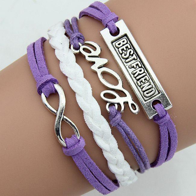 2015 hot sale romantic purple bracelet friendship gift bracelet love bracelet for men women Multilayer Bracelet